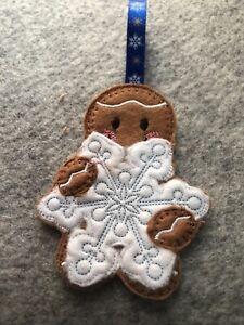 Handmade  Christmas Hanging Decoration, Gingerbread man holding snowflake