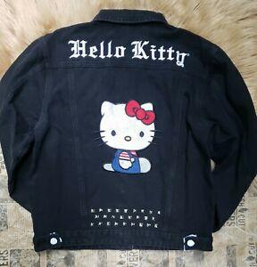 Hello Kitty X Dolls Kill Denim Trucker Jacket Womens Small Studded Embroidered