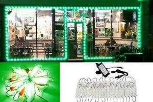 LEDUPDATES 50FT Green STOREFRONT LED LIGHT BRIGHTEST 5630 + UL Listed POWER