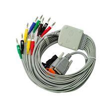CE Neu Nihon Kohden 10-Lead Shielded EKG ECG Cable Clip Banana 4, 15 pins Fast
