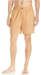 Nautica Men's Swim Trunks Short Swimsuit Quick Dry Check Orange New NWT M
