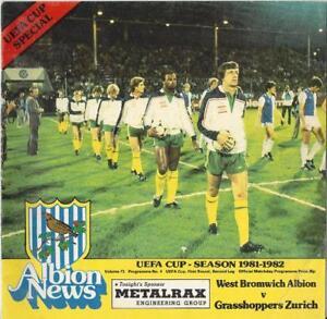 West Brom v Grasshoppers - 1981-82 UEFA Cup, 2nd Leg - 30th September 1981