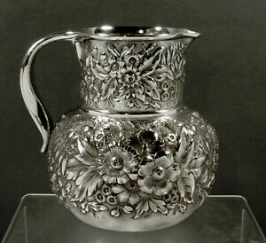 Whiting Sterling Pitcher              c1890 HAND DECORATED