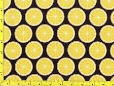 Lemon Slices on Black By The Yard CFOFRU08155