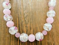Lampwork Pink Clear Floral Swirl Solid Variegated Glass Bead Vintage Necklace