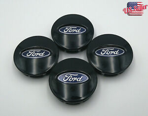 4pcs Glossy Black Center Wheel Hub Caps Emblem Cover Fit For Ford BB53-1A096-RA