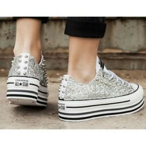 Converse All Star Platform Double White Glitter Stripe Shoes Studded