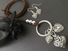 Bijoux Brown Faux Suede Long Necklace With Tibetan Love Heart Charms Boho