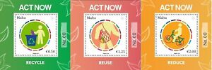 Malta 2021 set of 3 mini sheets Act Now - The UN Campaign for Individual Action