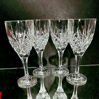 "4 (Four) GODINGER SHANNON DUBLIN Cut Lead Free Crystal Wine Glasses 7 3/8"" T"