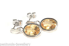 9ct White Gold Citrine Drop Earrings Gift Boxed Made in UK Christmas gift