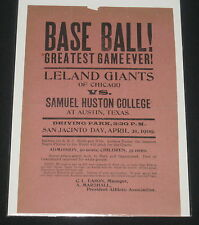1909 Leland Giant Negro League Baseball Broadside.- Andrew Rube Foster - Rare!