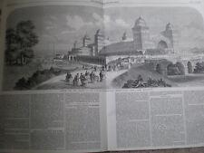 Design pour le palais du peuple Muswell Hill North Front 1860 OLD PRINT