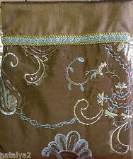 "Croscill CIPRESI CHOCOLATE Fabric SHOWER CURTAIN  72""x72"" Brown Aqua Embroidered"