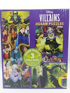 Disney Jigsaw Puzzle 3 in 1 Villains Ursula, Maleficent, Jafar More New