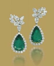 Pear & Round Cut 5ct Emerald & Diamond Solid 925 Sterling Silver Drop Earrings