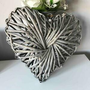 25cm SHABBY COUNTRY STYLE CHIC RATTAN WICKER HANGING HEART