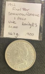 Dominican Republic 1952 1 Peso Unc / 27 Gr .900 Silver Crown & *No Reserve!