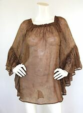 Indah Sz S Dress Silk Brown Marbled Angel Wing Flowy Kamani Cover Up Free People