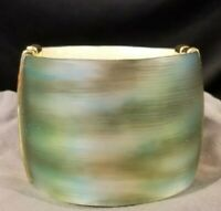 Alexis Bittar Lucite Cuff Hinged Bracelet, Green & Gold Swirled