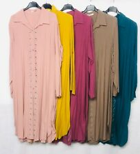 New Women Long Sleeve Buttons Casual Loose Tops Shirt Dress Plus Size Lagenlook