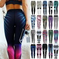 Womens Sport Yoga Pants High Waist Gym Fitness Compression Leggings Trousers New