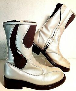 Sidi Lei Leather Women Motorcycle Motocross Boots Silver Sz 5.5 Made in Italy