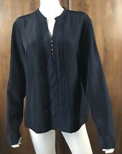 Anne Klein Navy Blue Mixed Media Blouse Top Size XL Pintuck Front Long Sleeve