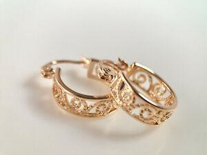 SALE 9ct 9K Gold Filled Prom Ladies 20mm Patterend Hoop Earring Birthday XMAS