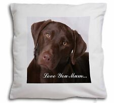 Chocolate Labrador 'Love You Mum' Soft Velvet Feel Cushion Cover , AD-L32lym-CPW