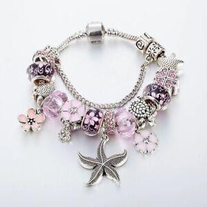 Silver Charm Bracelet. Beach Bracelets. Beaded Bracelets. Ocean Bracelet NEW