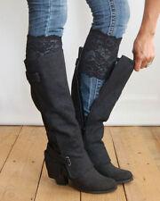 Stretch Lace Boot Cuffs Leg Warmers Black Trim Toppers Socks