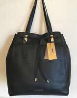 PAUL COSTELLOE Black Leather Magnum Bucket Bag Womens Drawstring Shoulder Tote