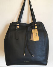 PAUL COSTELLOE Leather Bucket Bag Womens Hand Stitched Drawstring Shoulder Tote