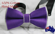 Men Women Purple and Grey 100% Cotton Hand Made Bowtie Bow Tie Wedding Party
