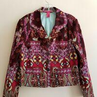 Thalia Sodi Boho Blazer Jacket Pink Burgundy Aqua Yellow Lined Women's XL
