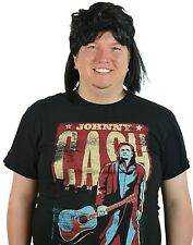 Men's Black Waynes Mullet Wig Adult 80s Hockey Hair Halloween Costume