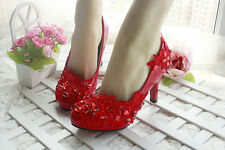 Diamond Red Flower Wedding Bridal Shoes High Heels Mary Evening Party Lace NEW