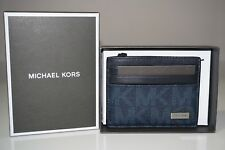 Michael Kors Men's Jet Set Signature Baltic Blue Logo Card Case