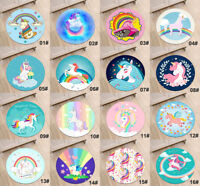 Magical Happy Unicorns Circle Velboa Rug Non-slip Kids' Room Doormat Carpet Mat