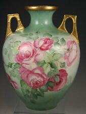 HAND PAINTED  Roses  Vase Artist Signed