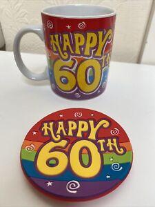 HAPPY 60th 60 Birthday Mug & Coaster Set - - Multicoloured Unisex - New In Box