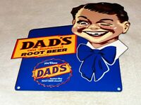 "VINTAGE ""DAD'S ROOT BEER W/ BOY GRAPHICS"" 12"" METAL SODA POP GASOLINE & OIL SIGN"