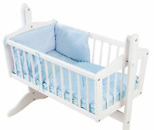 4BABY DIMPLE BLUE BOYS 2 PIECE ROCKING CRIB/CRADLE QUILT AND BUMPER BEDDING SET