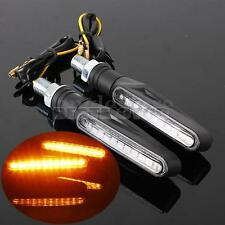 Pair Motorcycle Bike Black LED Turn Signal Light Indicators Blinker Amber 12V