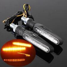 Pair Motorcycle Bike Black LED Turn Signal Light Indicators Blinker Amber 12V