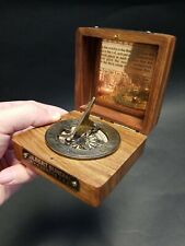 Antique Vintage Style Wood Brass Sundial Compass