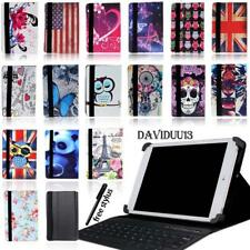 """LEATHER STAND COVER CASE + Bluetooth Keyboard For Various 7 8"""" 10"""" Lenovo Tablet"""