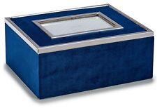 Bleu Foncé Velours Rectangulaire Boite Bijoux Avec Personnalisé Cadre Photo Étui
