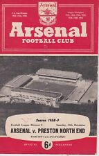 ARSENAL v PRESTON NORTH END ~ 20 DECEMBER 1958 ~ FOOTBALL PROGRAMME (1)